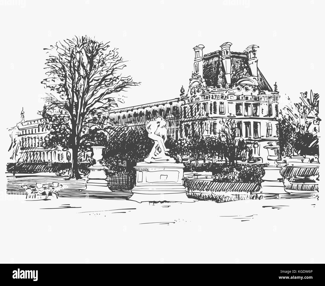 sketch drawing of the Louvre, famous place from Paris, France - Stock Vector