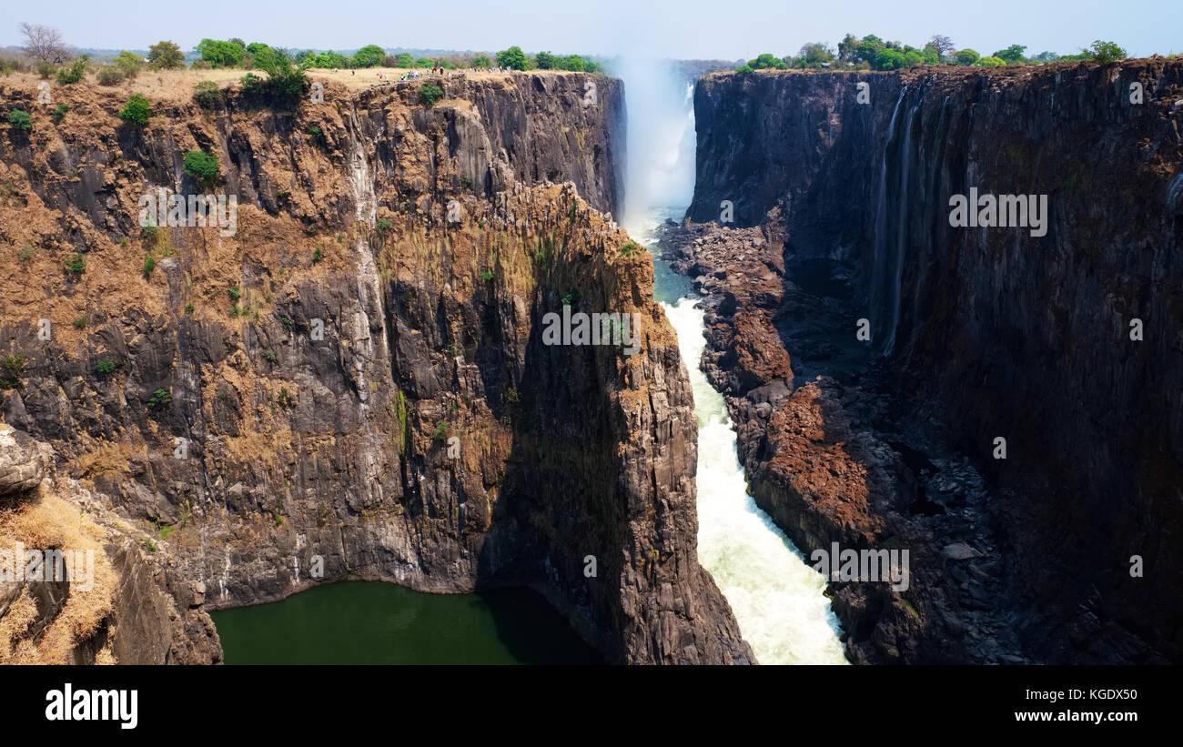 Victoria Falls During Dry Season Stock Photo 165033708 Alamy