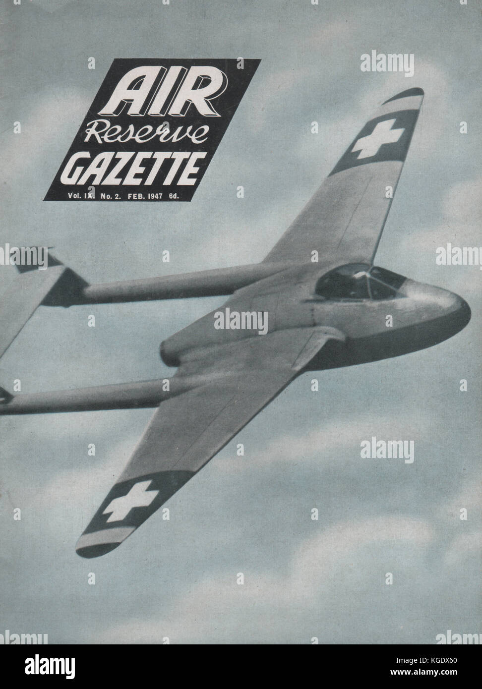 Vintage Air Reserve Gazette magazine cover dated February 1947 showing a DeHavilland Vampire fighter bomber of the - Stock Image
