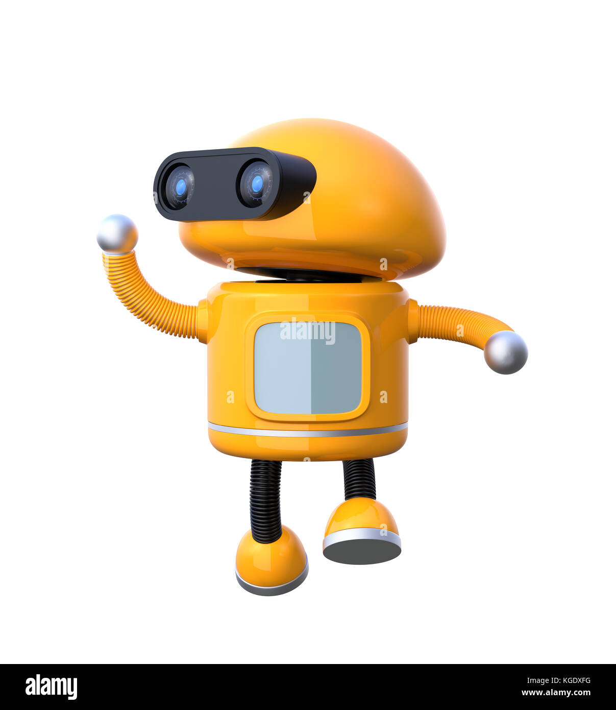 Cute orange robot  is dancing on white background. 3D rendering image. - Stock Image