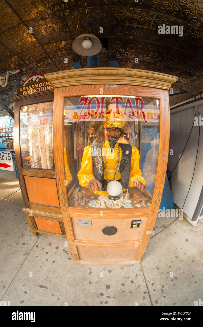 Zoltar fortune telling arcade machine, Coney Island, Brooklyn, New York, United States of America - Stock Image