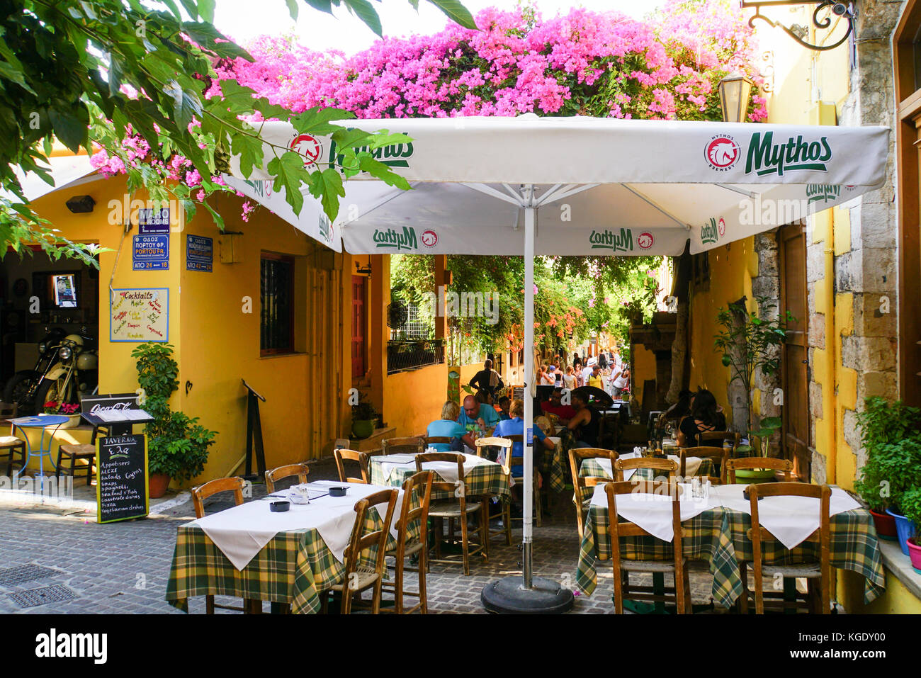 Outdoor dining in Chania, Crete, Greece - Stock Image