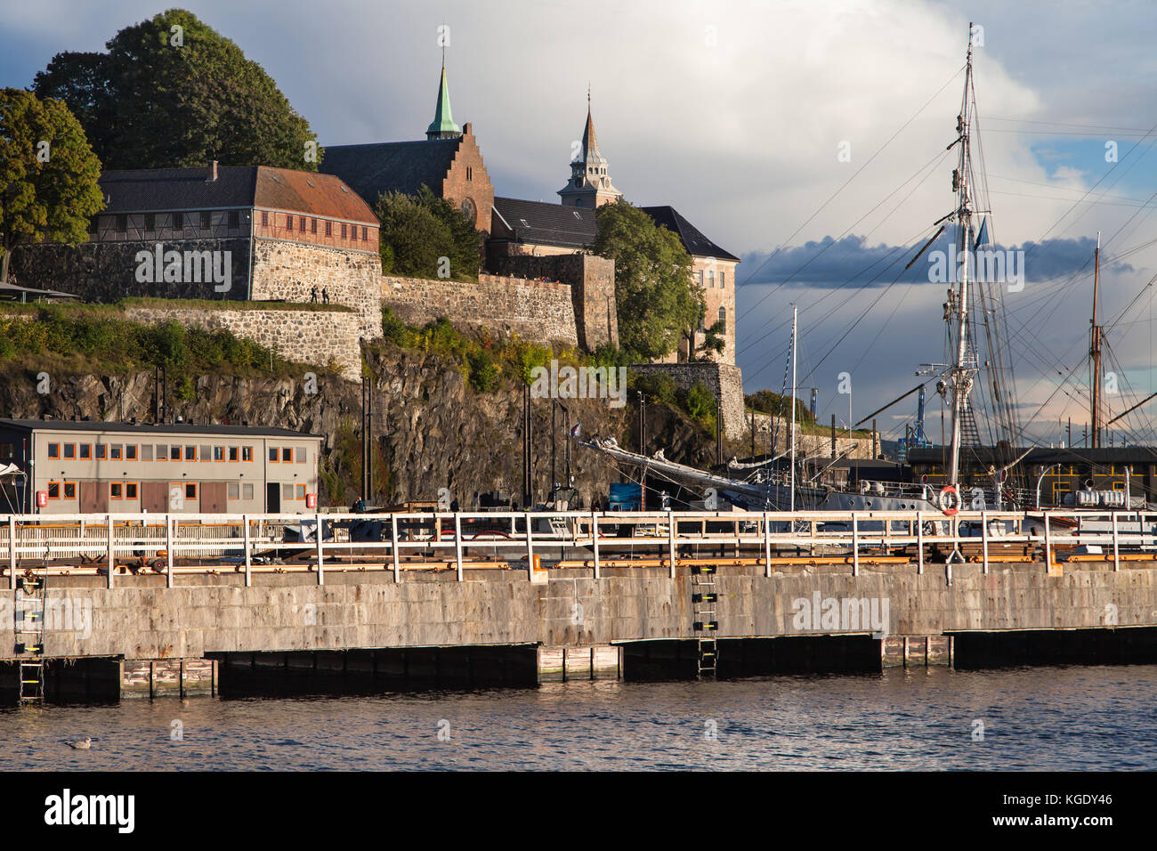 Akershus Fortress from Pipervika, Oslo, Norway. - Stock Image