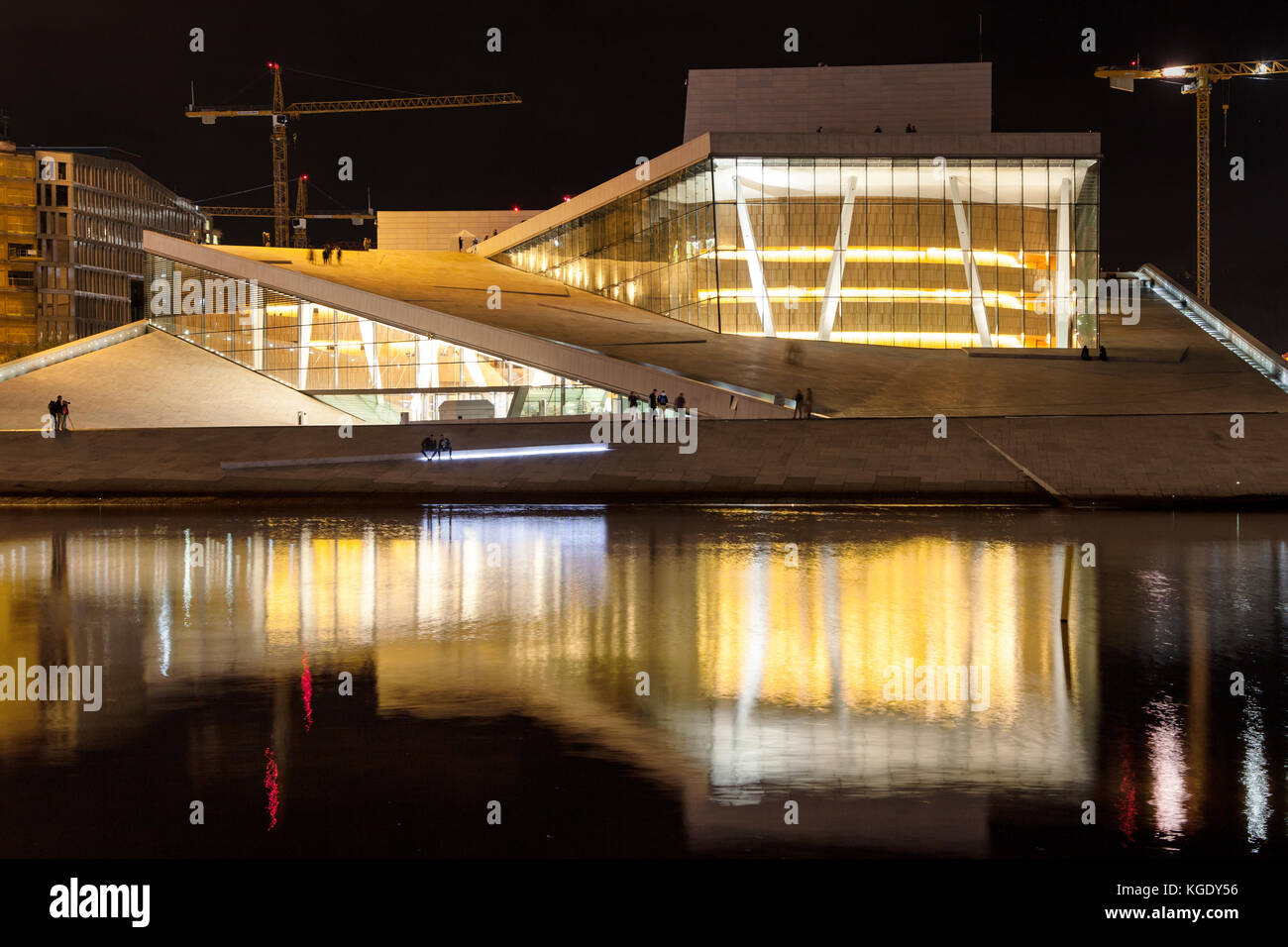 Operahuset in Oslo, Norway, at night. - Stock Image