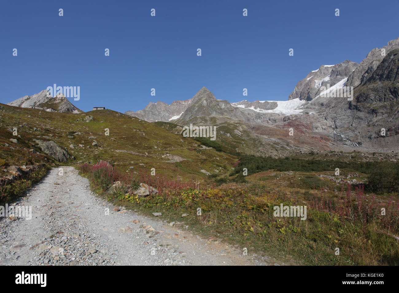 panoramic view around the mont blanc mountain range on the border between Italy and France. European summer at the - Stock Image