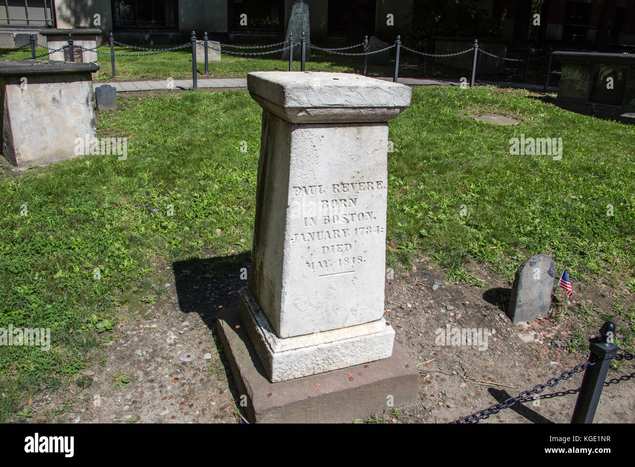 Grave marker of Paul Revere, Granary Burying Ground, Boston, MA, USA - Stock Image