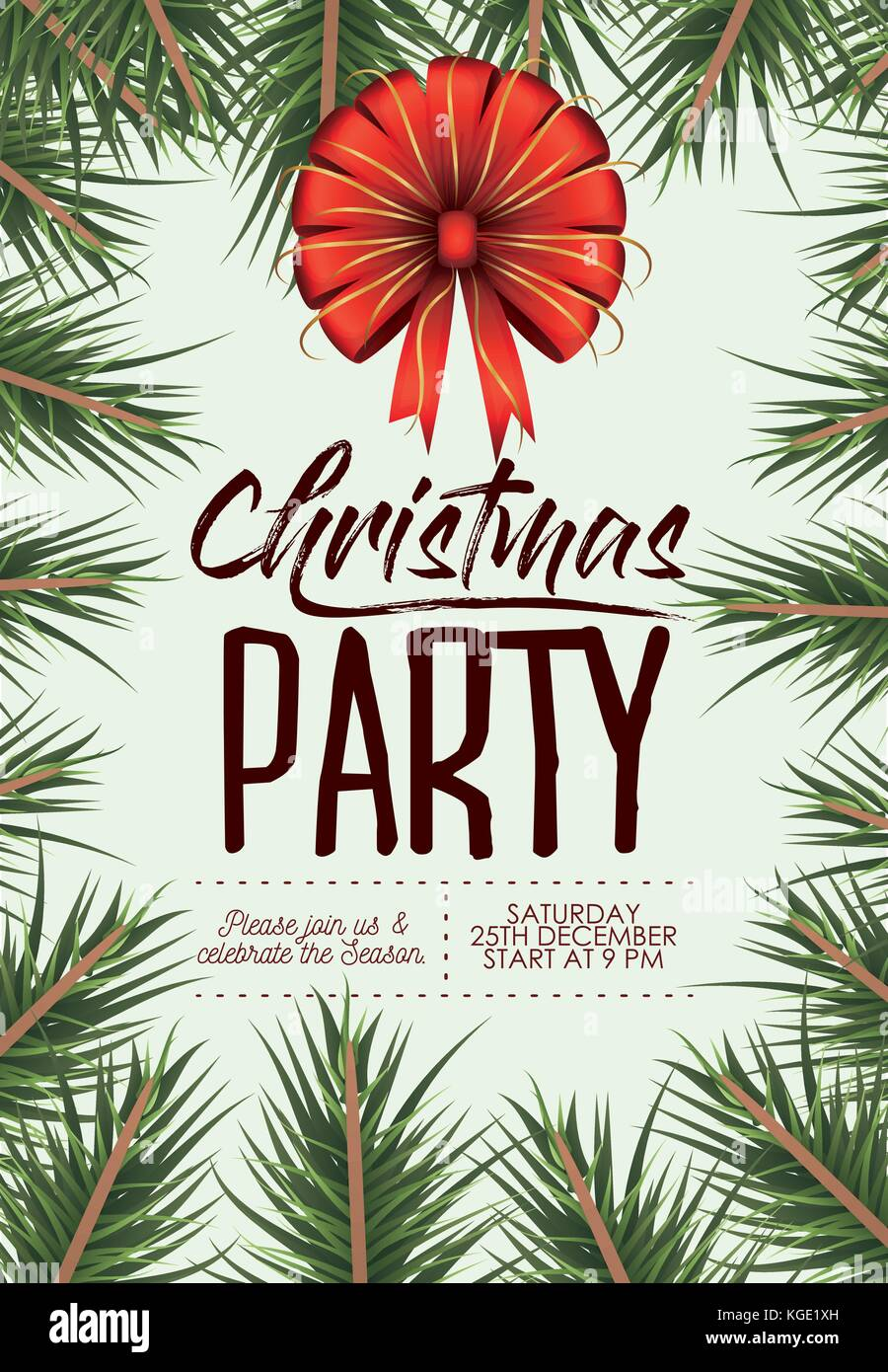 christmas party card with colorful pine branches and decorative christmas bow ribbon Stock Vector