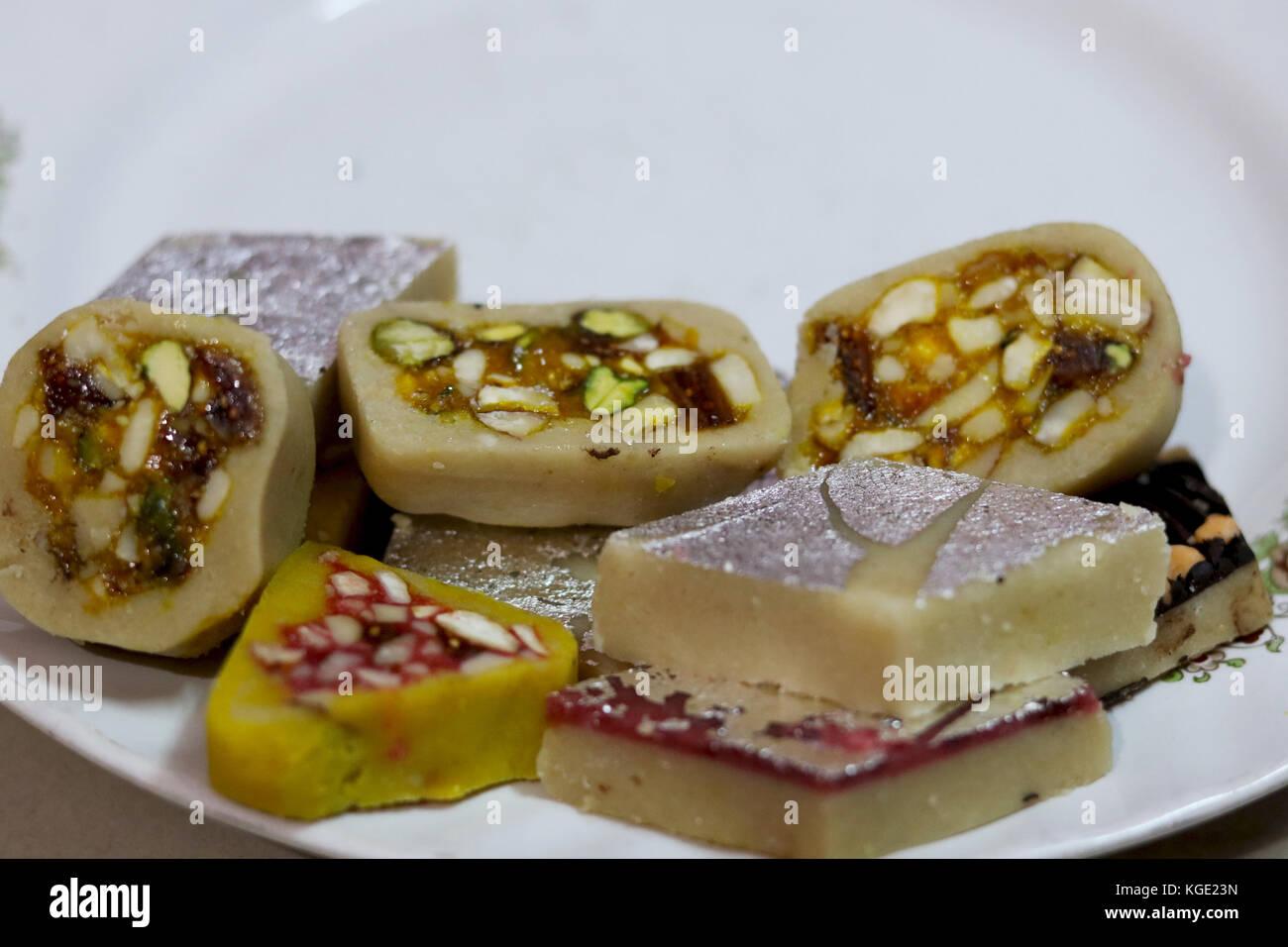 Indian festival Sweet Food or mithai on White Background Stock Photo