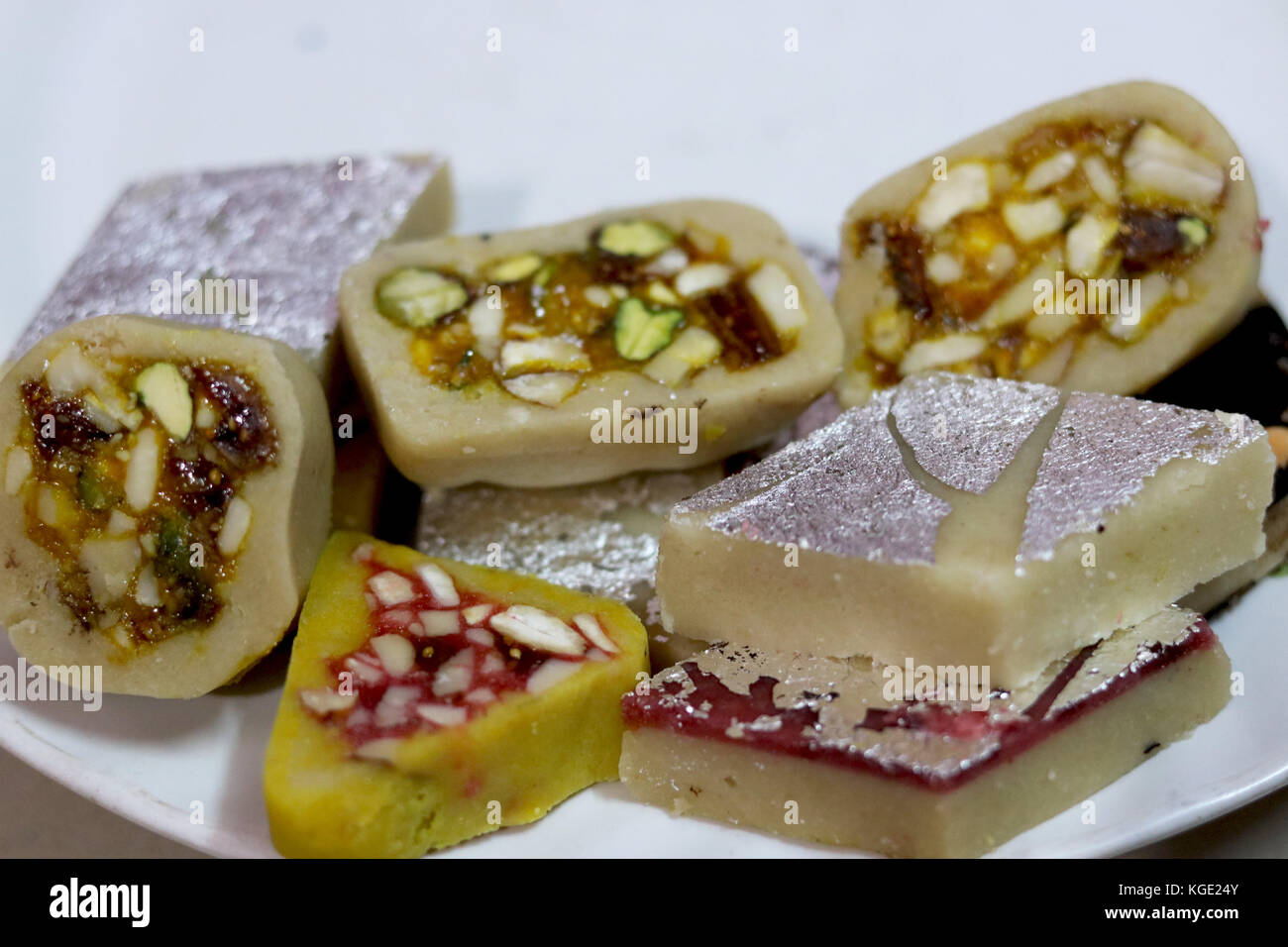 Indian festival Sweet Food or mithai on White Background - Stock Image
