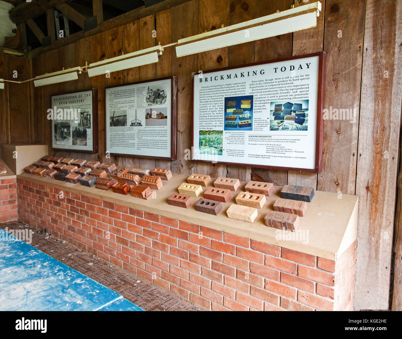 Different types of bricks display at the Avoncroft Museum of Buildings, Stoke Heath, Bromsgrove, Worcestershire, - Stock Image