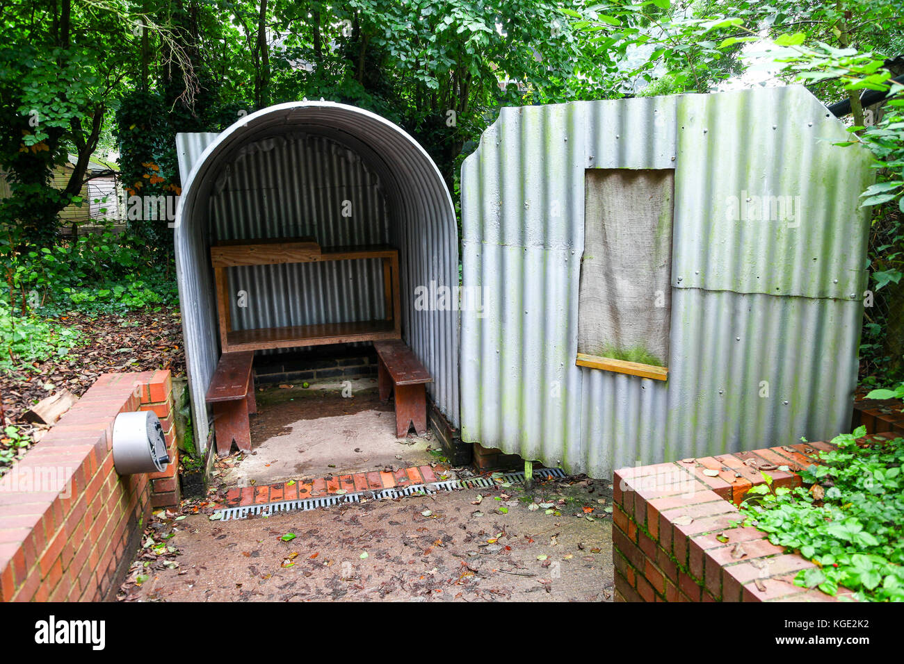 An Anderson Air Raid Shelter at the Avoncroft Museum of Buildings, Stoke Heath, Bromsgrove, Worcestershire, England, - Stock Image