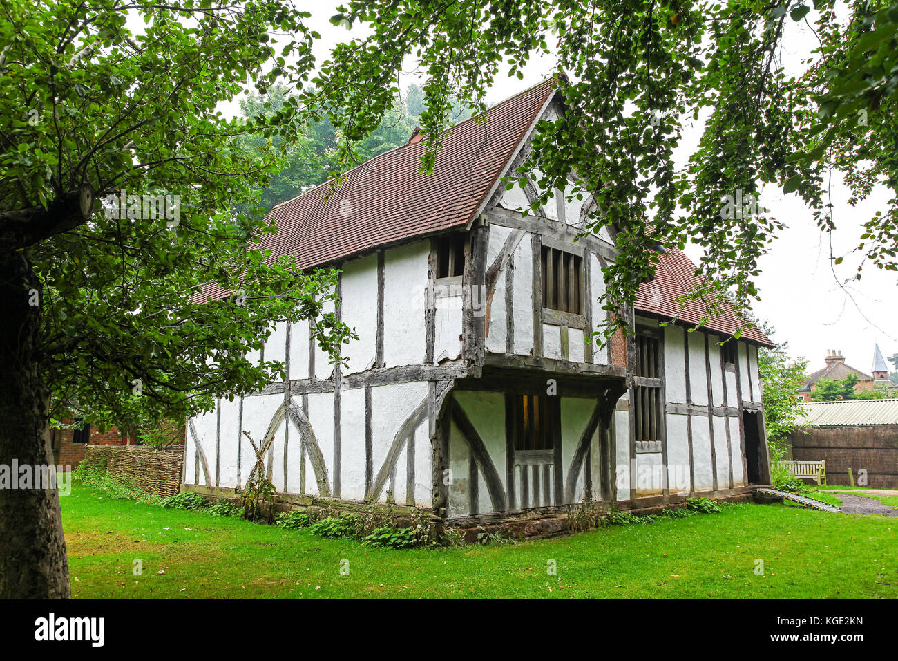 The Town House, timber-framed 16th century merchant's house at the Avoncroft Museum of Buildings, Stoke Heath, - Stock Image