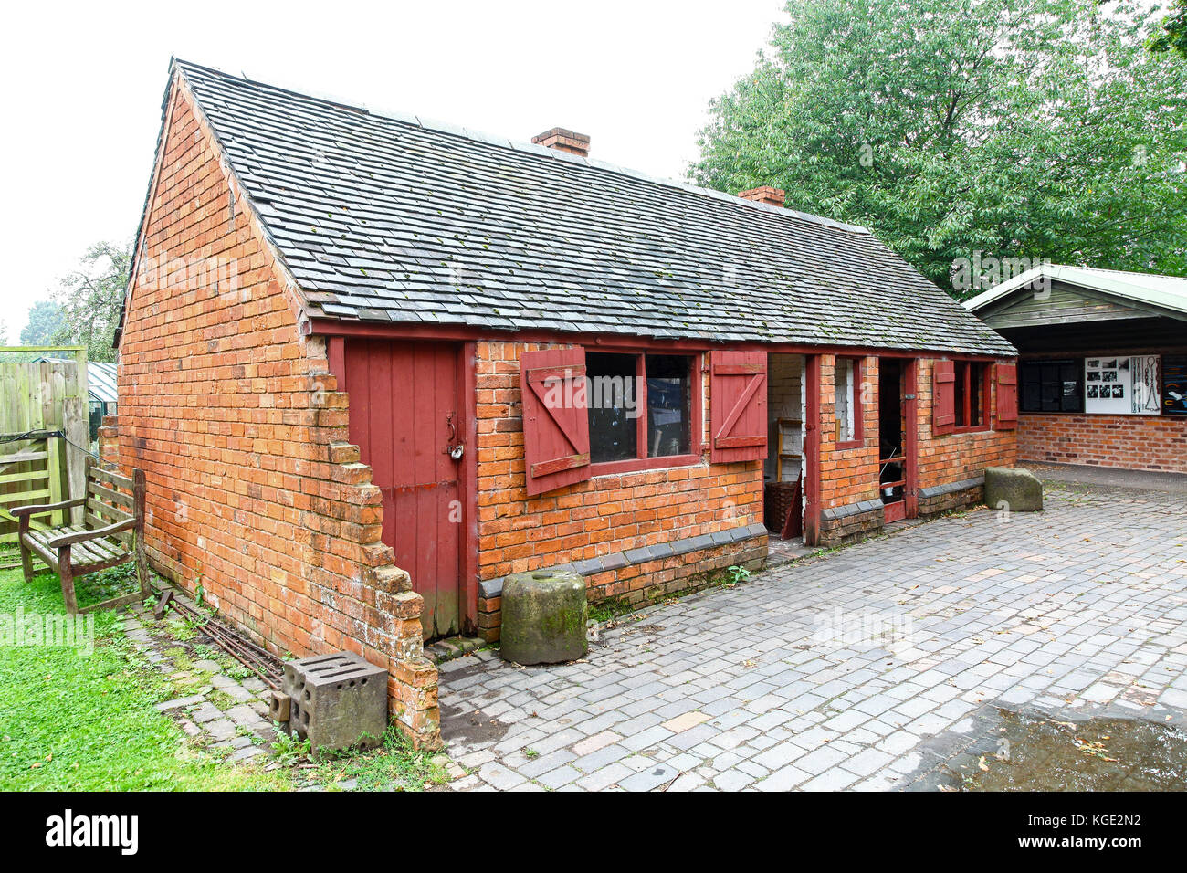 FORGE, NAIL SHOP and BREW HOUSE at the Avoncroft Museum of Buildings, Stoke Heath, Bromsgrove, Worcestershire, England, - Stock Image