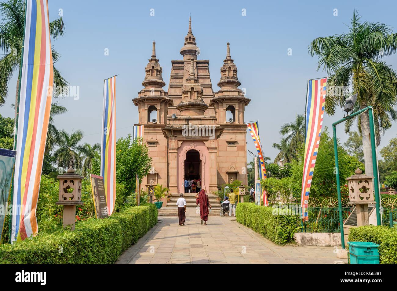 . Mulagandha Kuti Vihar Sarnath is situated amidst brick ruins of ancient Sarnath . - Stock Image