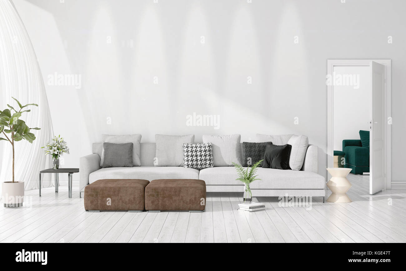 Modern loft interior design of livingroom in vogue with plant ...