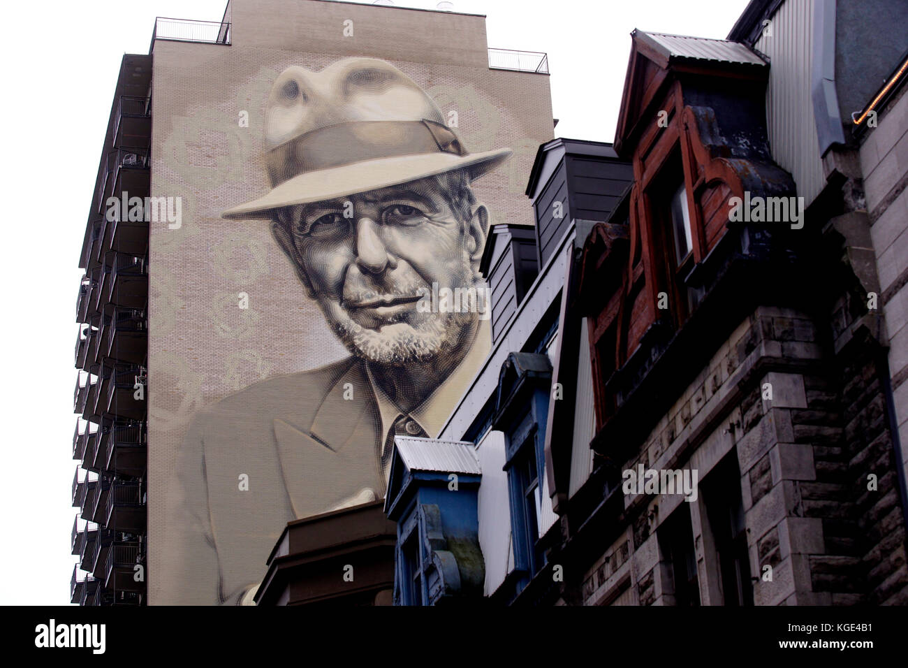 Montreal Canada 7 November 2017 Leonard Cohen Mural Painted On A