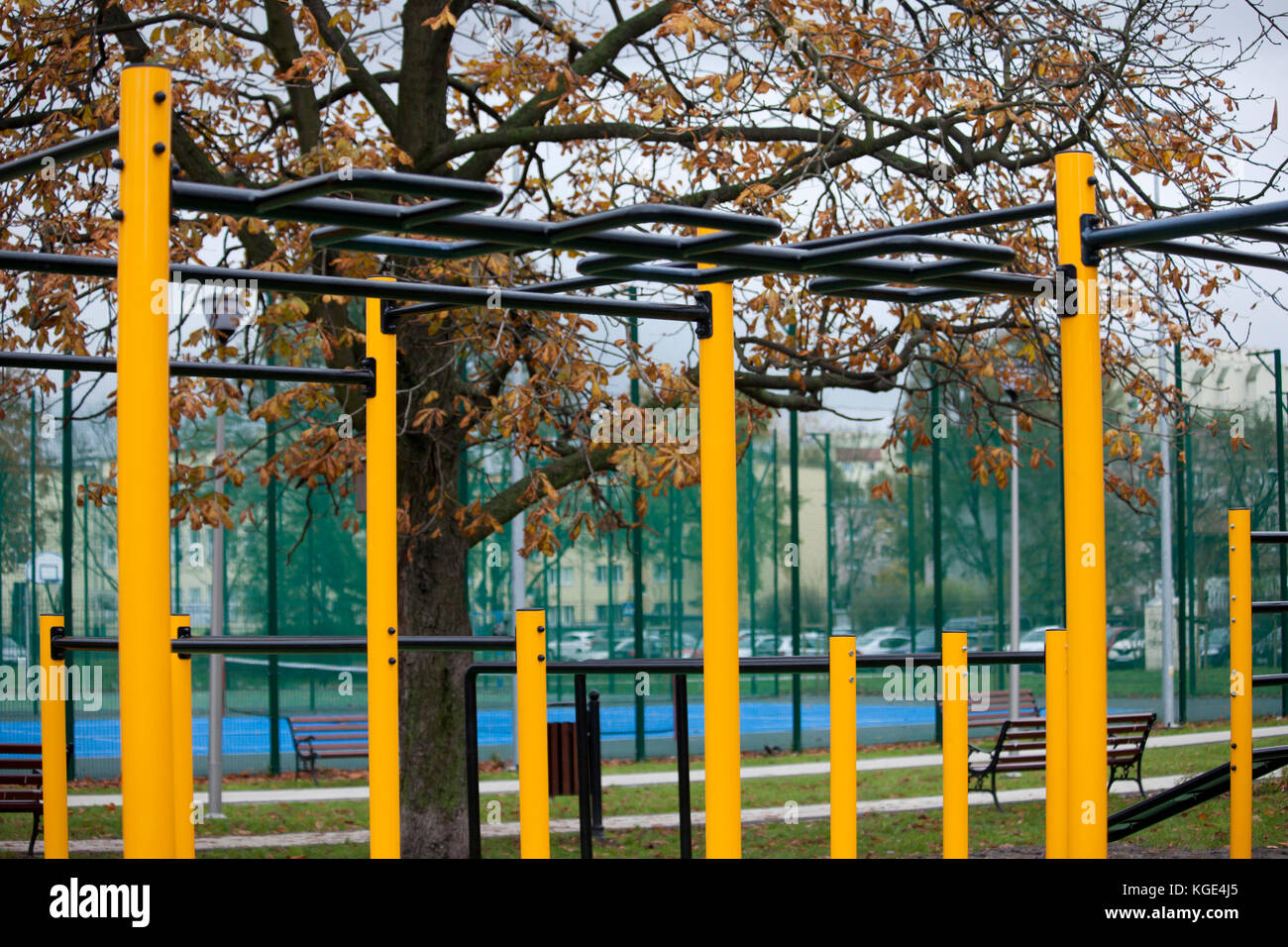 Outdoor gym for street workout Stock Photo