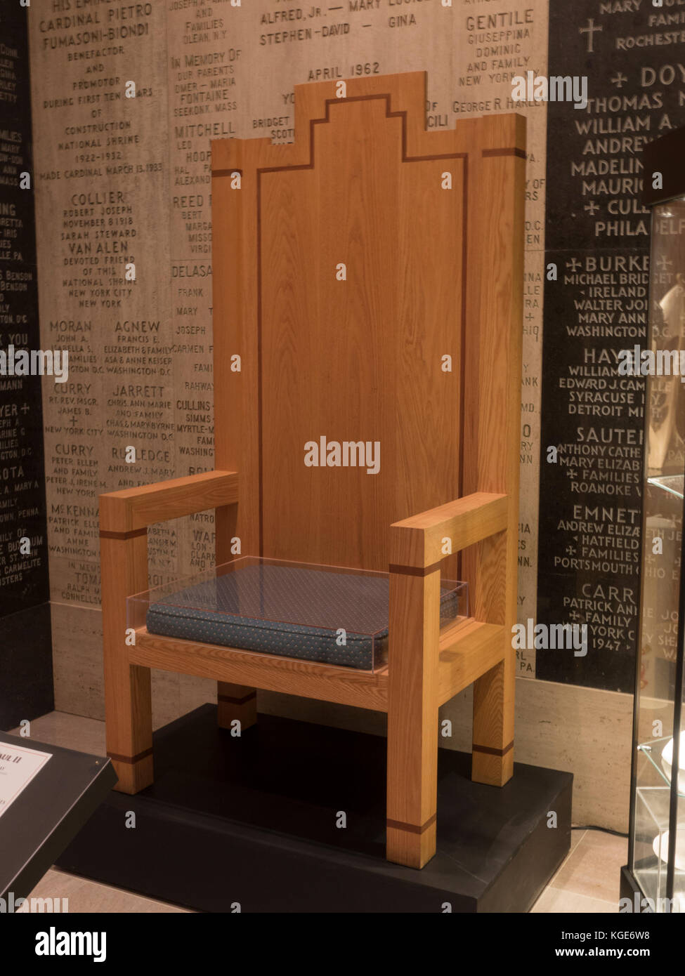 Chair used by Pope John Paul II during his visit to the Basilica of the National Shrine of the Immaculate Conception, Stock Photo