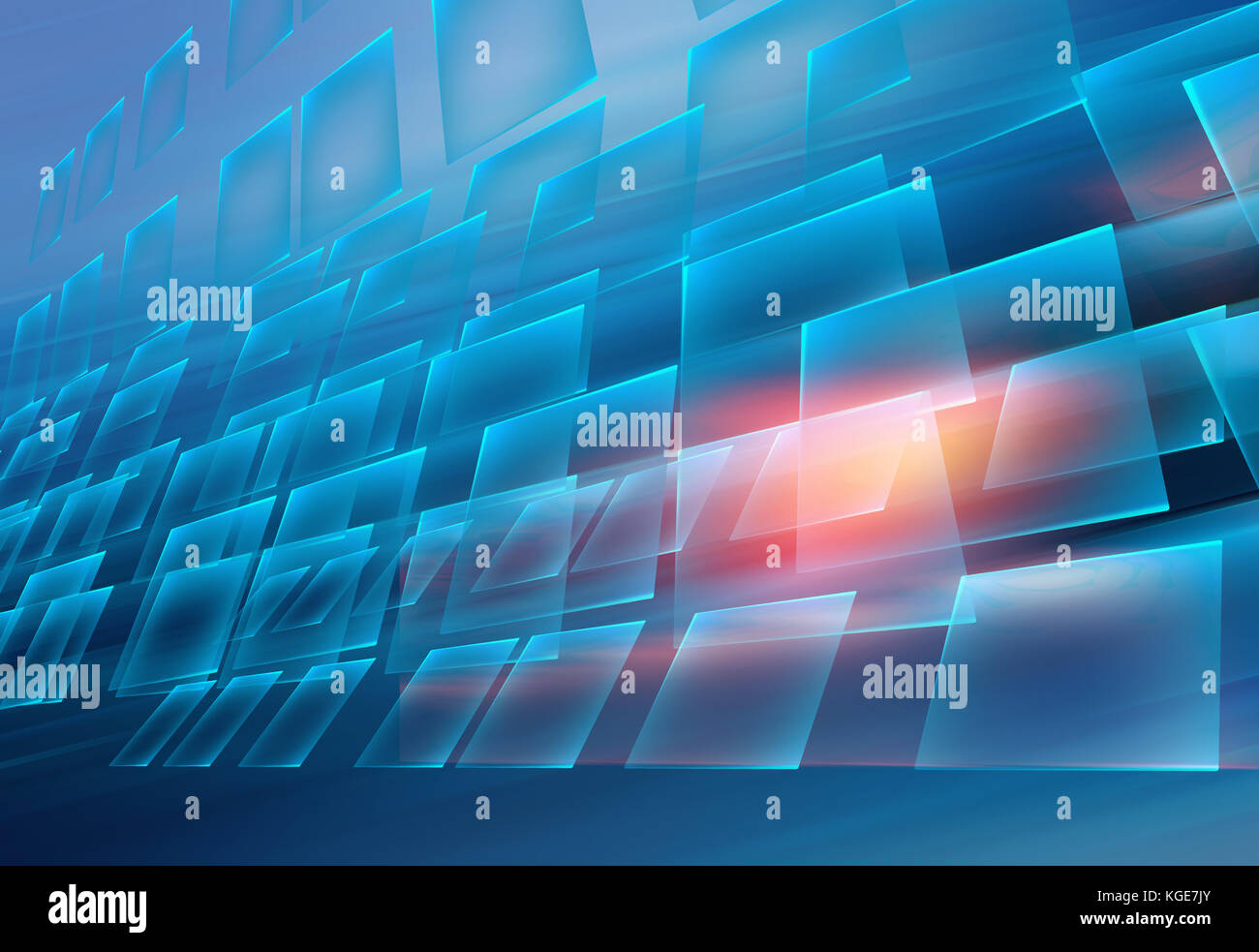 Graphical abstract technology background , Modern screens moving in front of blue background. - Stock Image
