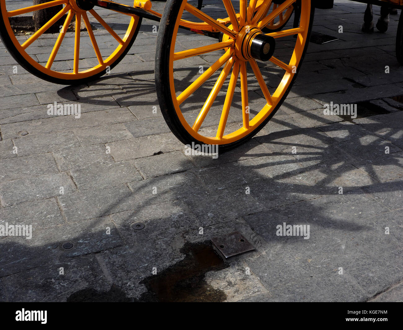 shadow of horse's head and reins merge with shadow of yellow spoked carriage wheels at a carriage taxi rank - Stock Image