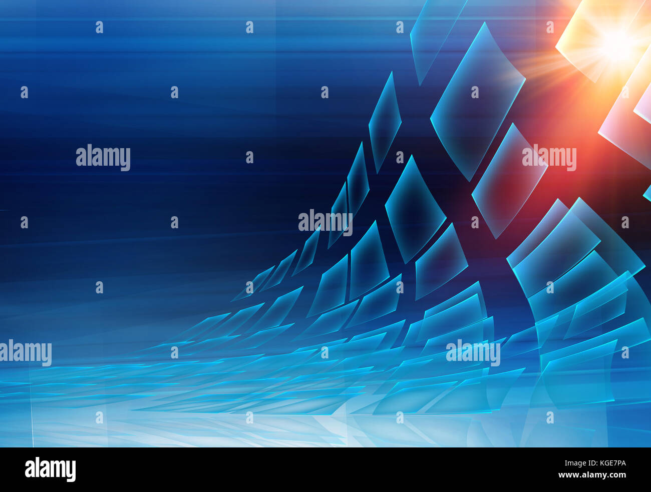 Graphical abstract technology background , transparent screens flying to the sun. - Stock Image