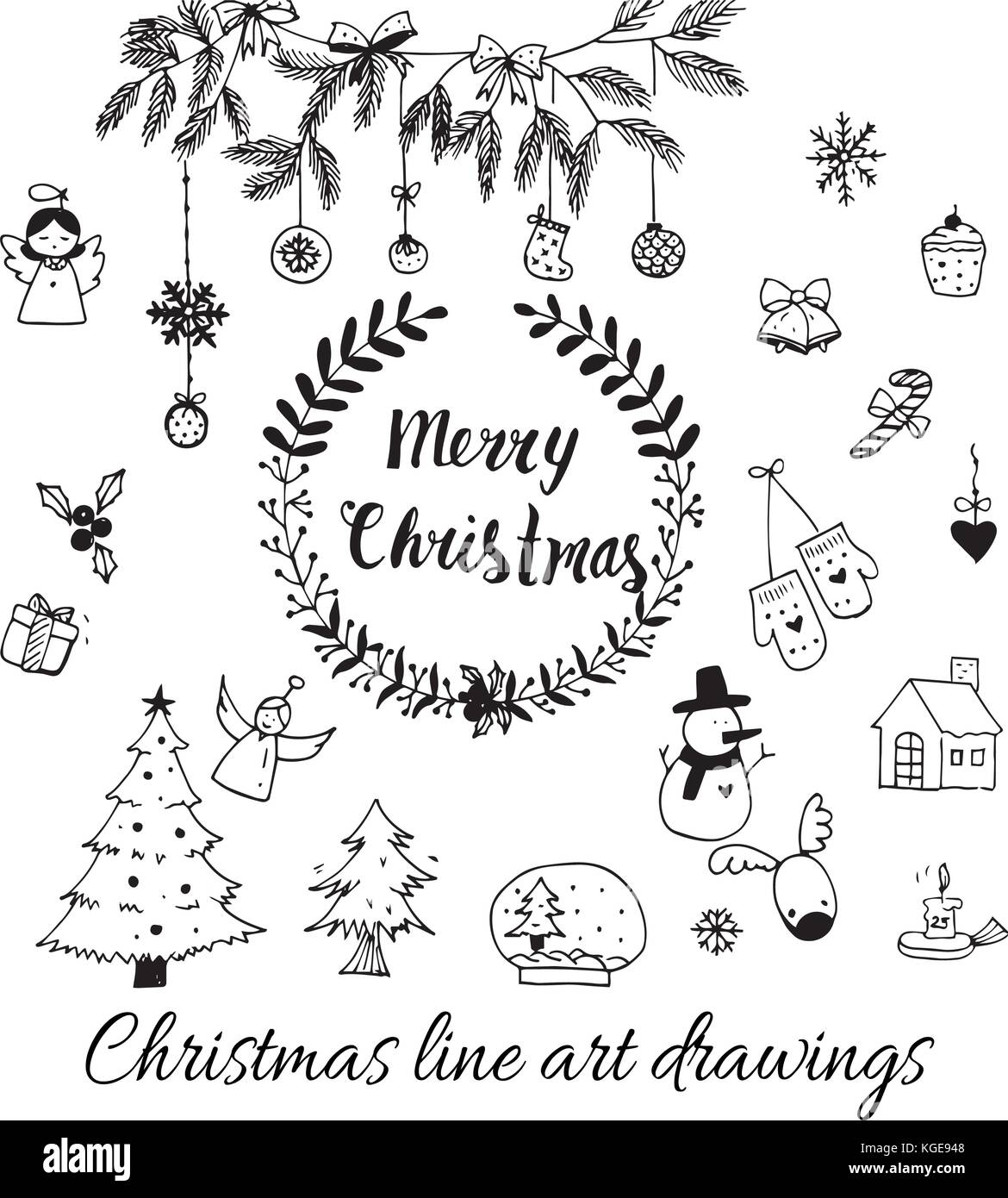 Christmas Present Drawings.Hand Drawn Doodle Vector Christmas Line Art Drawings In