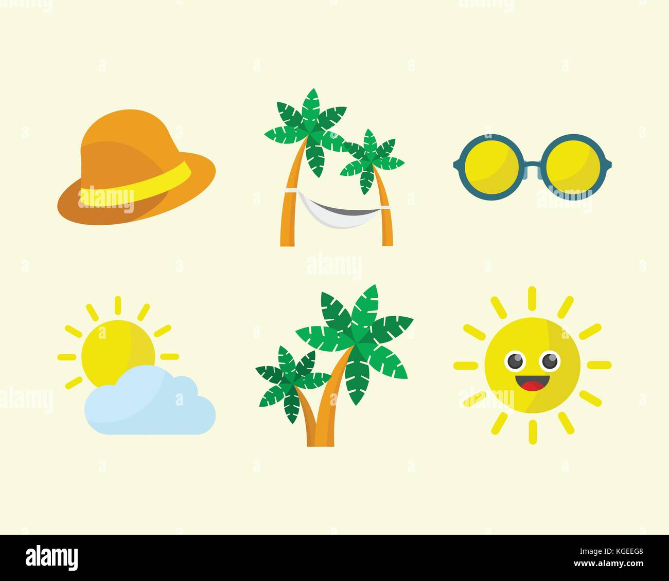 Summer Time Icon Set - Stock Vector
