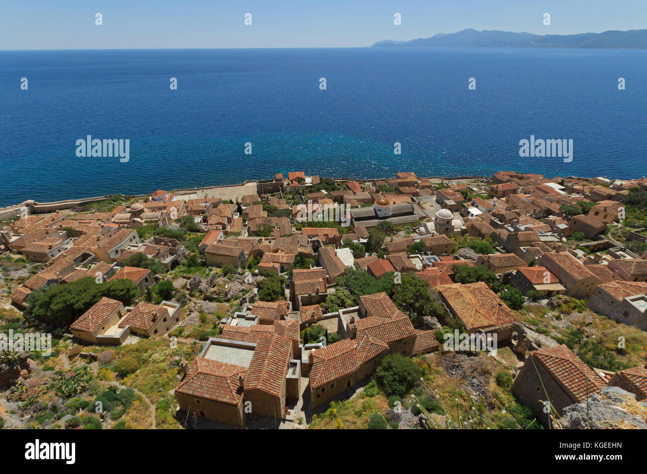Panoramic view of historical town of Monemvasia in southern Greece Stock Photo