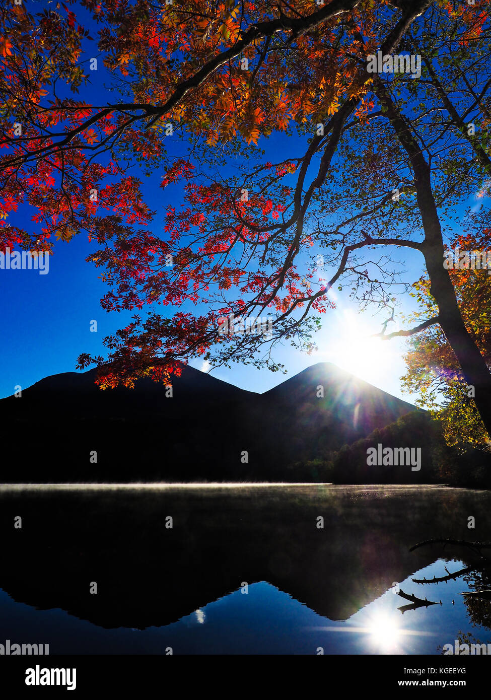 Japanese autumn foliage in Akan, Hokkaido, Japan Stock Photo