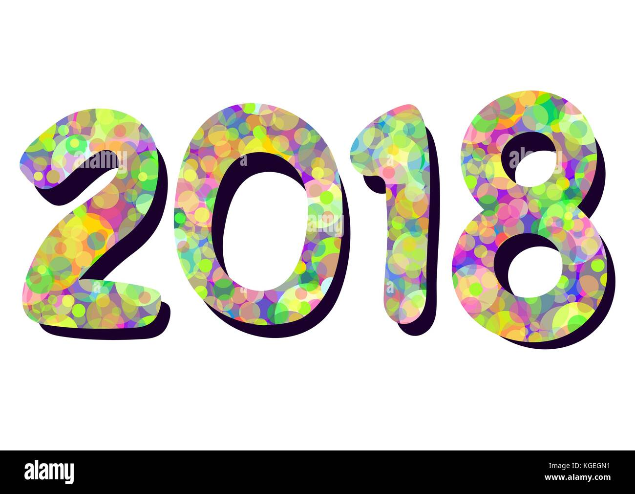 Number 2018 from colorful multicolored bright circles of confetti isolated on white background, element for the - Stock Image