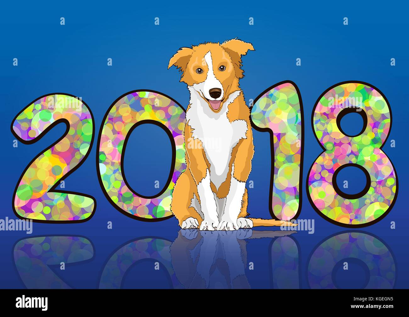 Number 2018 from colorful multicolored bright circles of confetti and drawn yellow dog astrological symbol of the - Stock Image