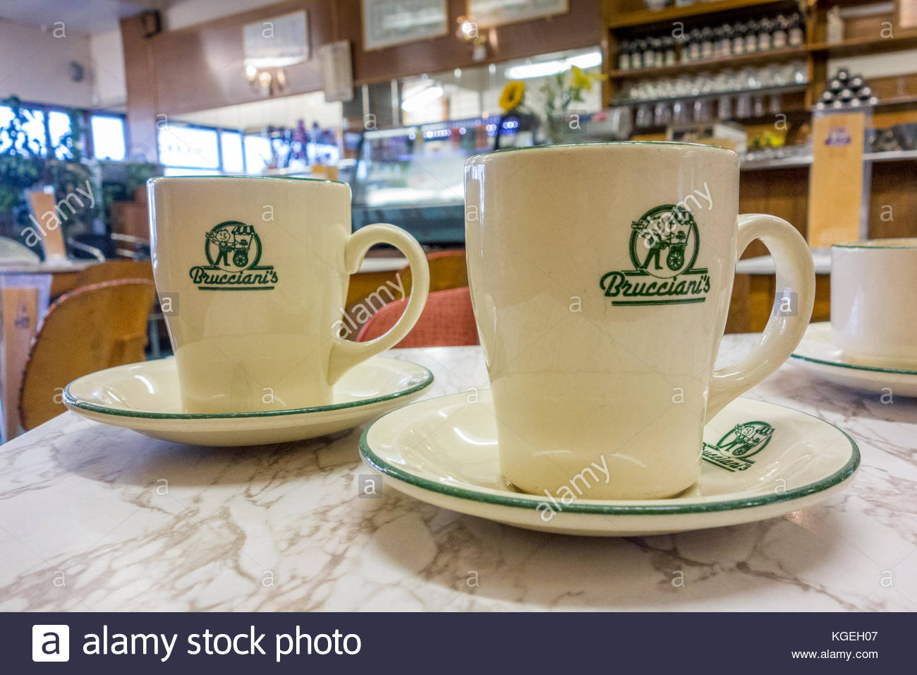 Coffee Mugs On A Formica Table In Brucciani S Cafe In Morecambe A Stock Photo Alamy