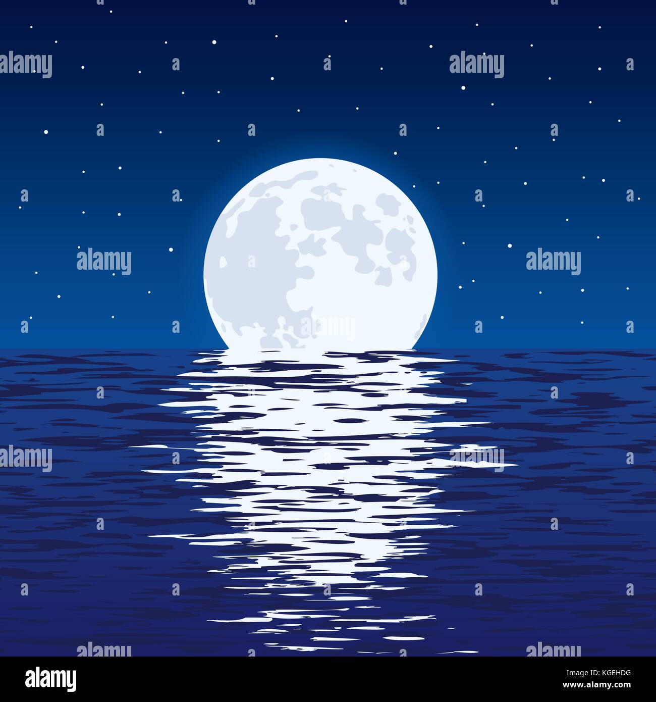 Vector Background Of Blue Sea And Full Moon At Night Light Stock