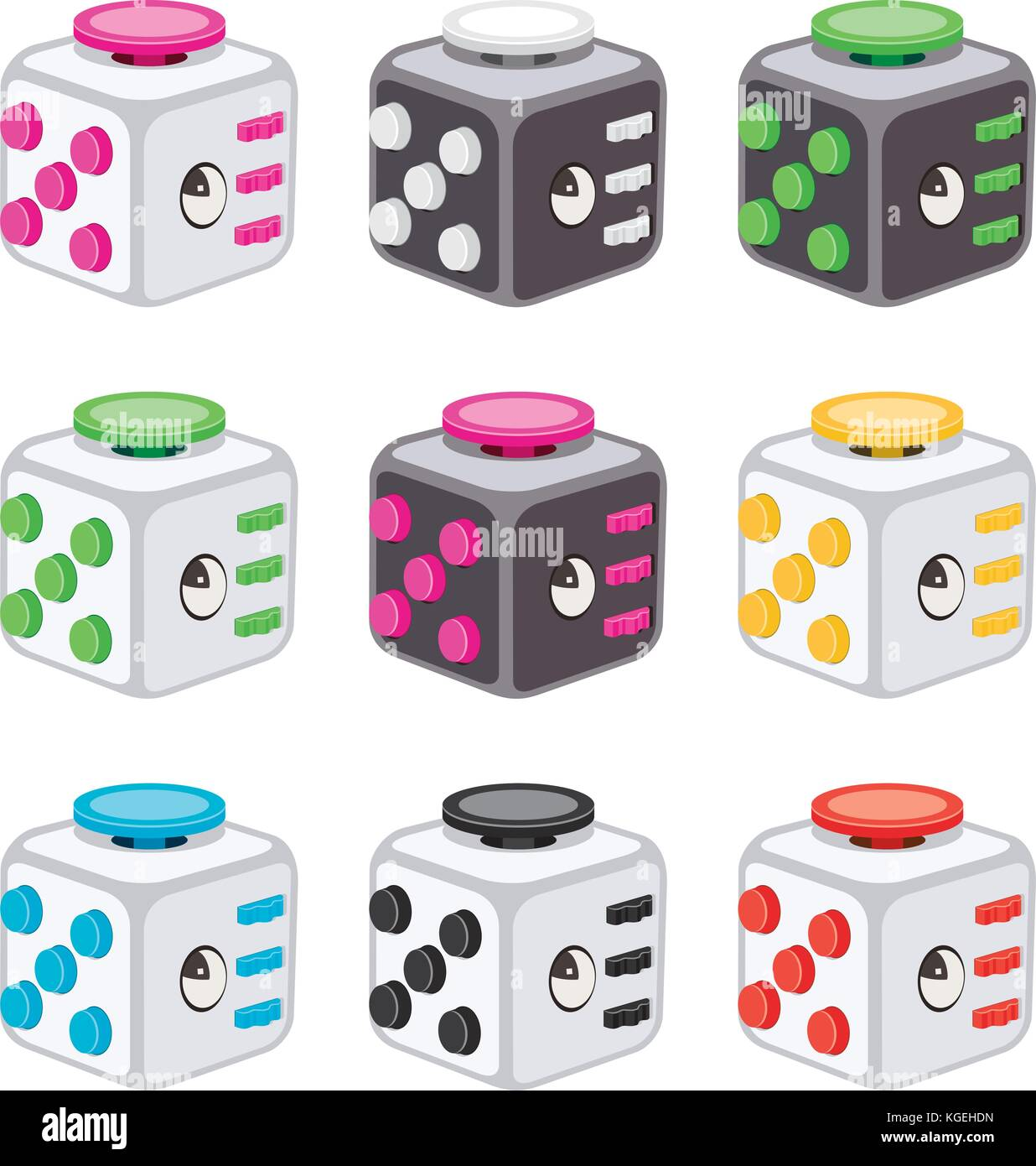 vector colorful icons of fidget cubes  stress relaxation toy