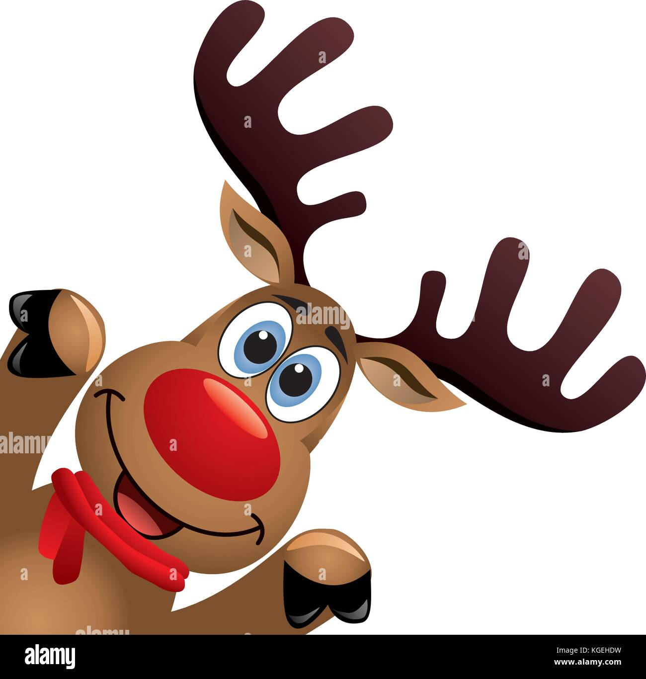 vector xmas drawing of funny red nosed reindeer. christmas card ...