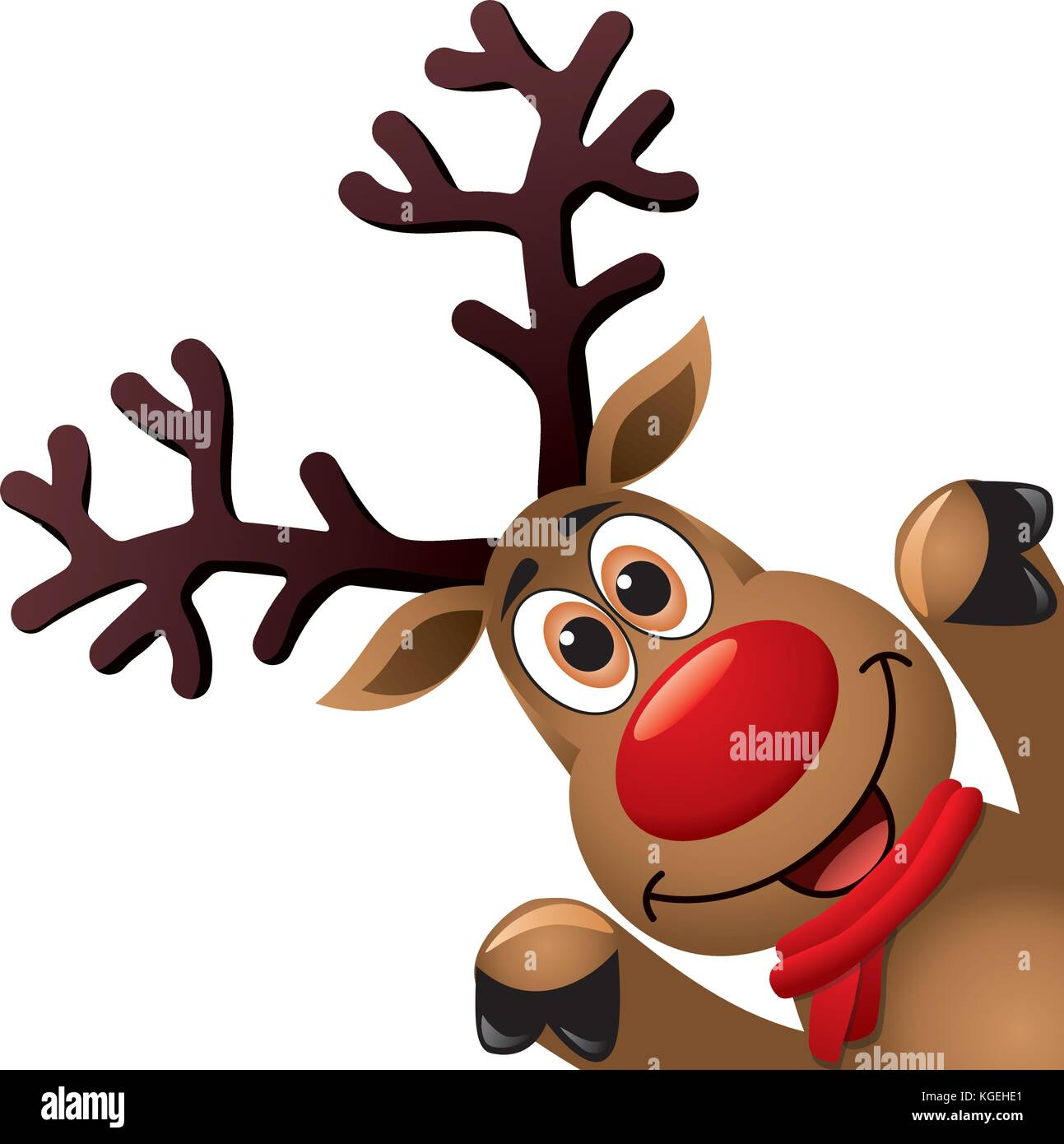 Vector Xmas Drawing Of Funny Red Nosed Reindeer. Christmas Card  Illustration. Cartoon Rudolph Deer With Red Scarf And Big Horns On White  Background, B