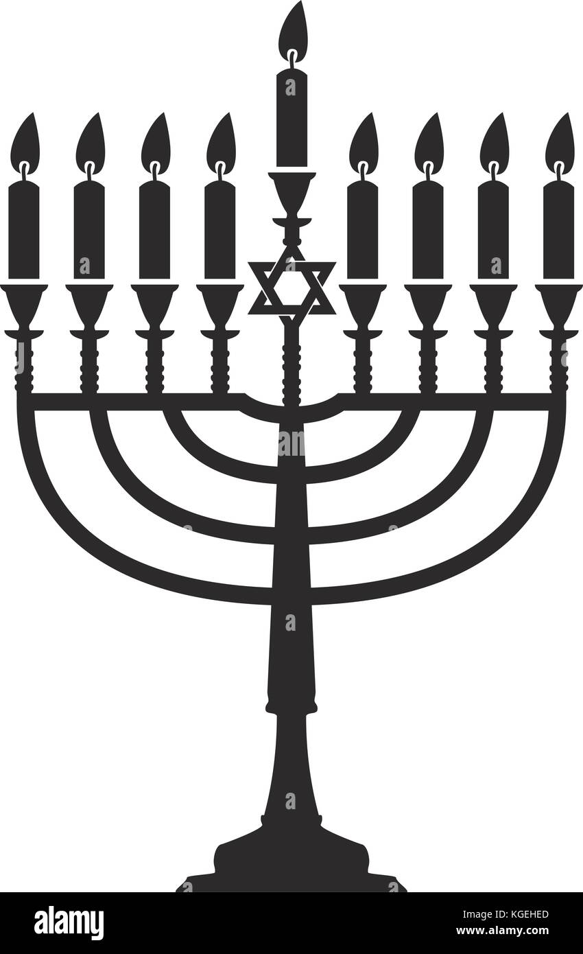 vector hanukkah menorah isolated on white background. jewish religion traditional symbol of hanuka holiday. chanukah - Stock Vector