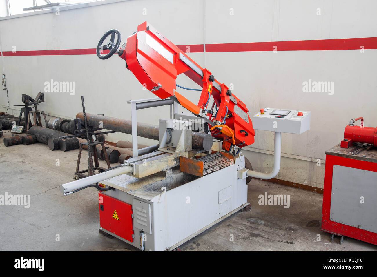 equipment and machines for cutting and processing of metal profiles Stock Photo