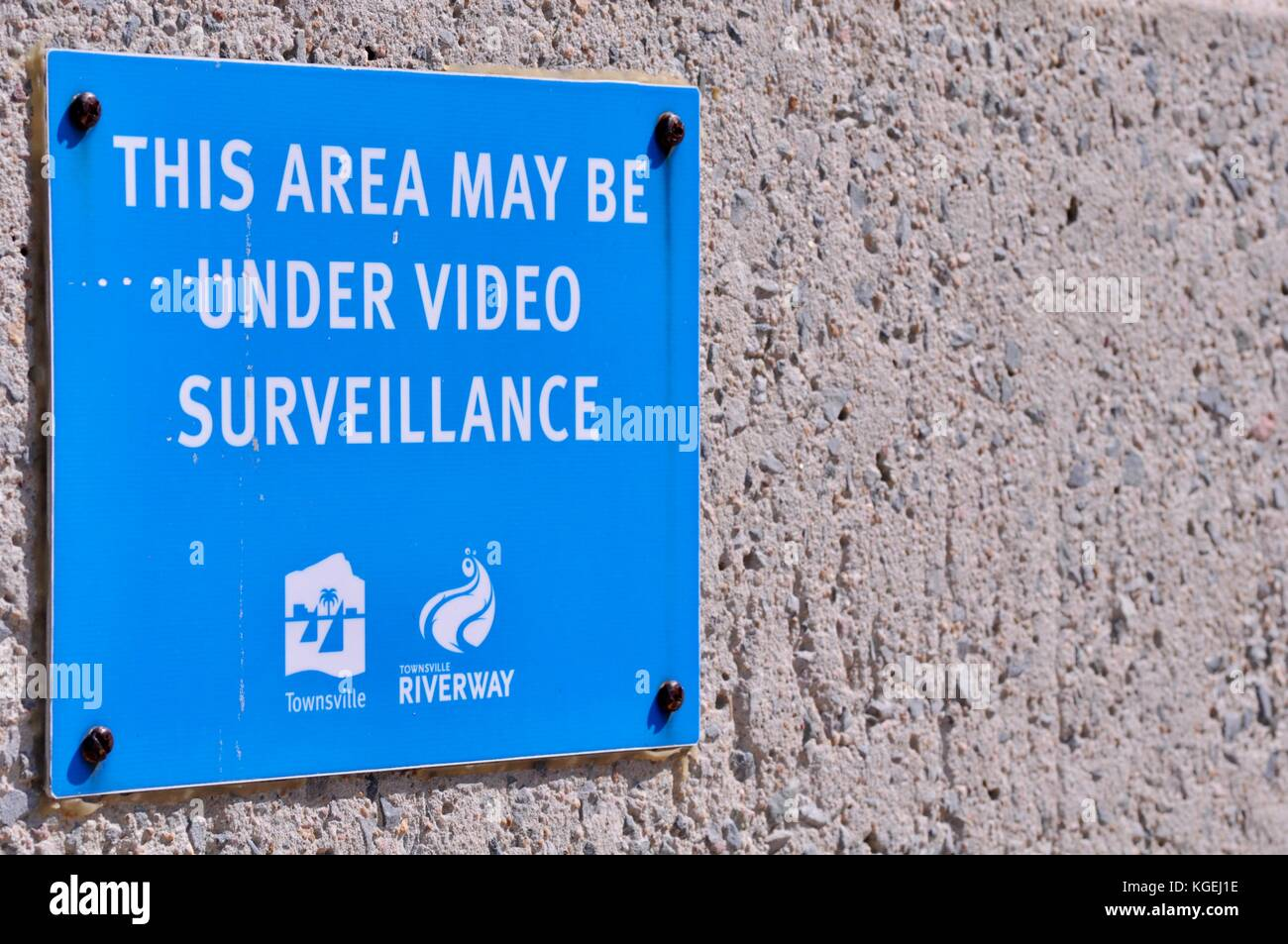 Video surveillance warning sign at Riverway Pool, Townsville, Queensland, Australia - Stock Image