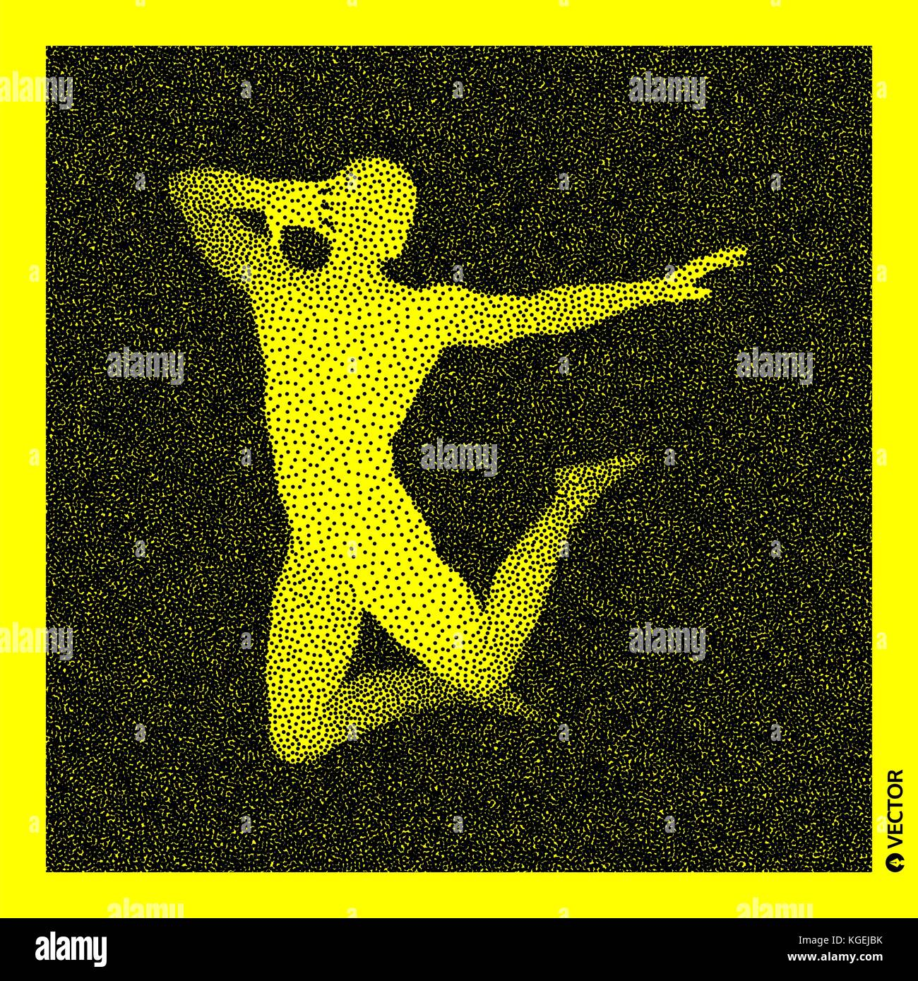 Dancer. 3D Human Body Model. Black and yellow grainy design. Stippled vector illustration. - Stock Vector