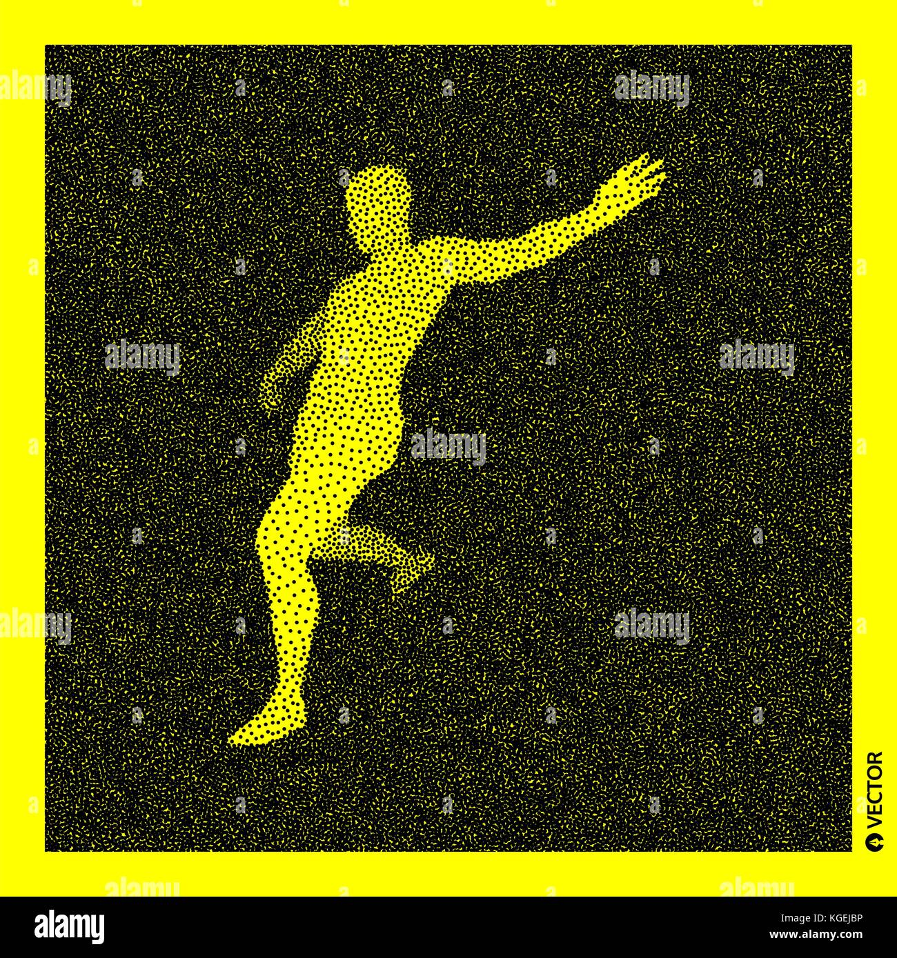 Football player. 3D Human Body Model. Black and yellow grainy design. Stippled vector illustration. Stock Vector