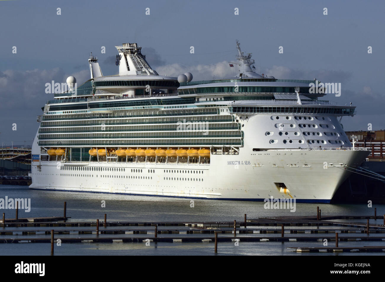 the P and O cruise liner the navigator of the seas alongside in dock or port of Southampton. Cruising ships and Stock Photo