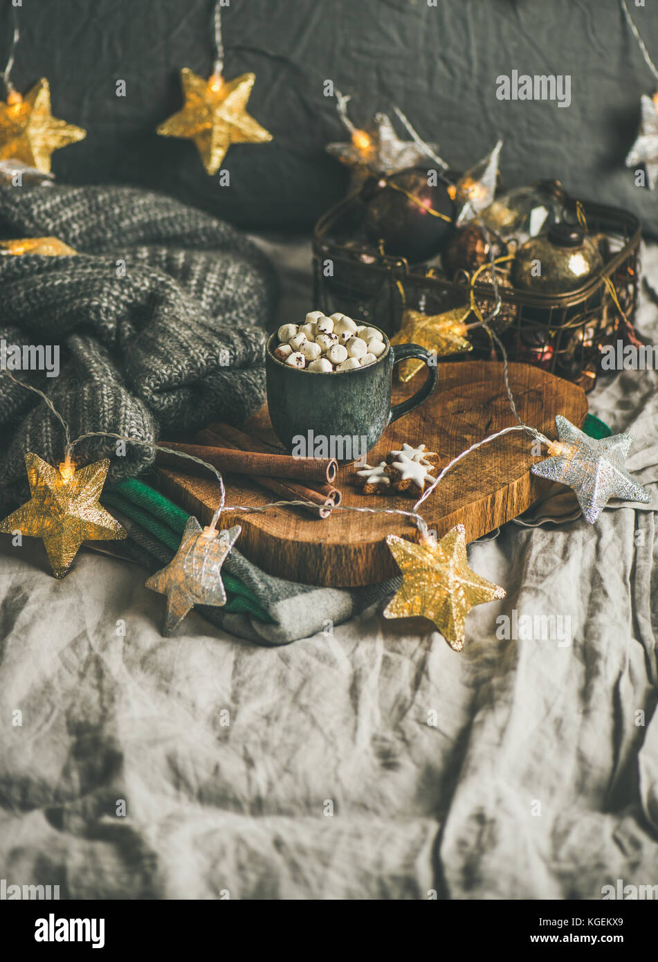 Christmas winter hot chocolate with marshmellows and cinnamon, copy space - Stock Image