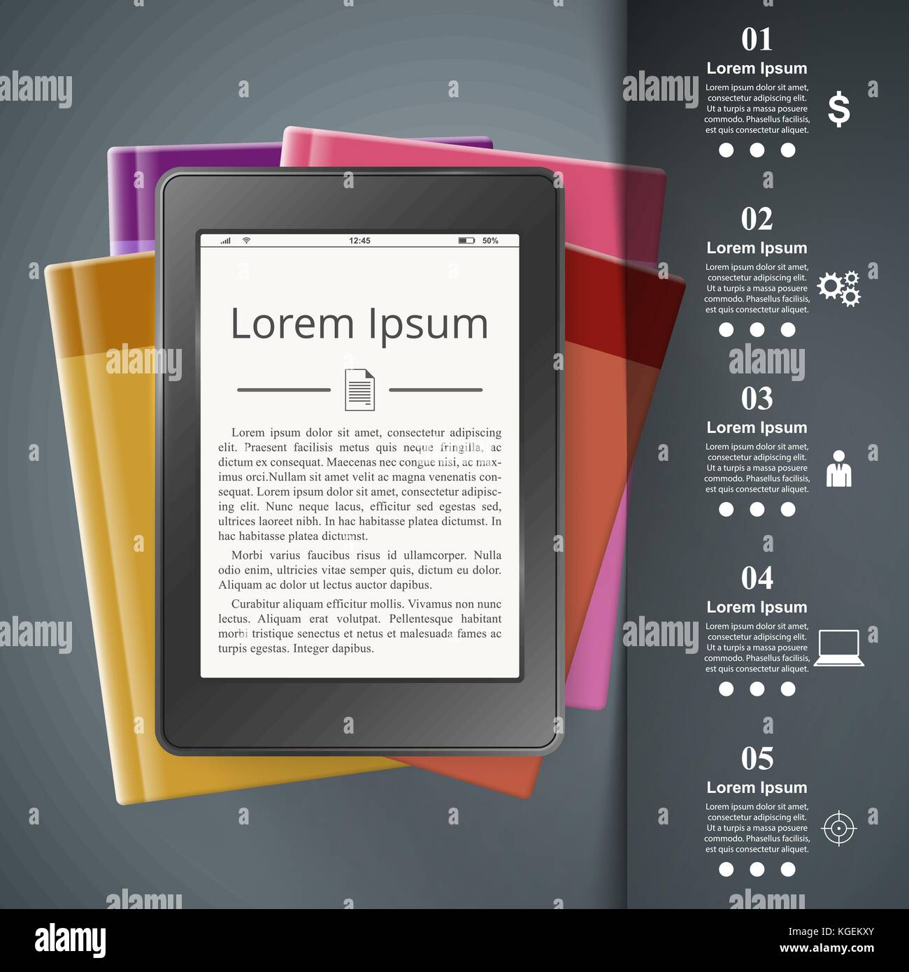 Ebook Reader Book Reader Book Icon Business Infographic