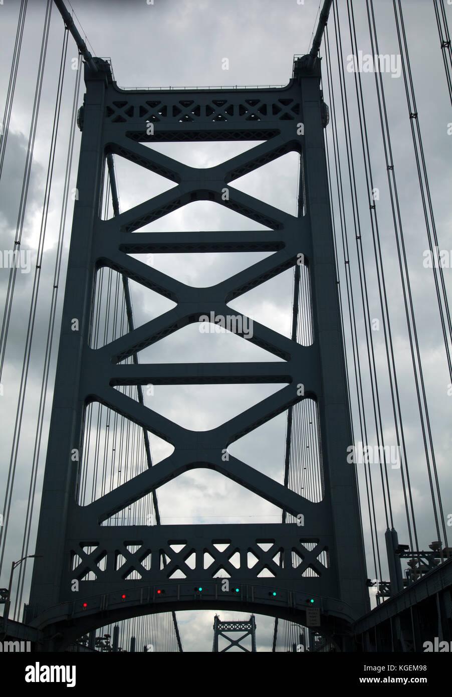 Benjamin Franklin Bridge Connecting Philadelphia to New Jersey - USA Stock Photo