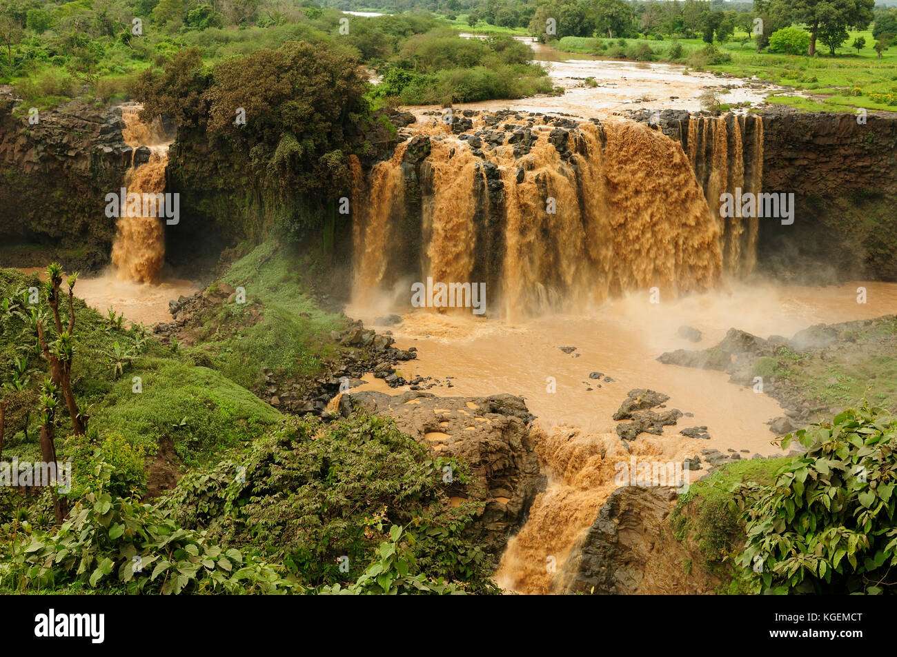 Waterfall on the Blue Nile flowing from the Tana lake in Ethiopia - Stock Image