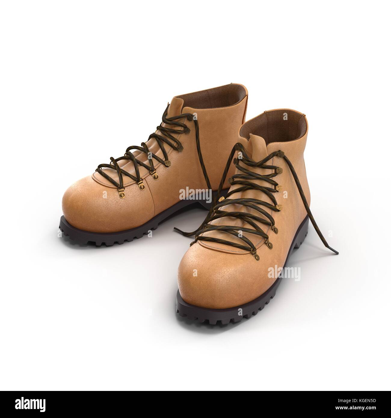 Hiking boots isolated on white background 3D Illustration Stock Photo