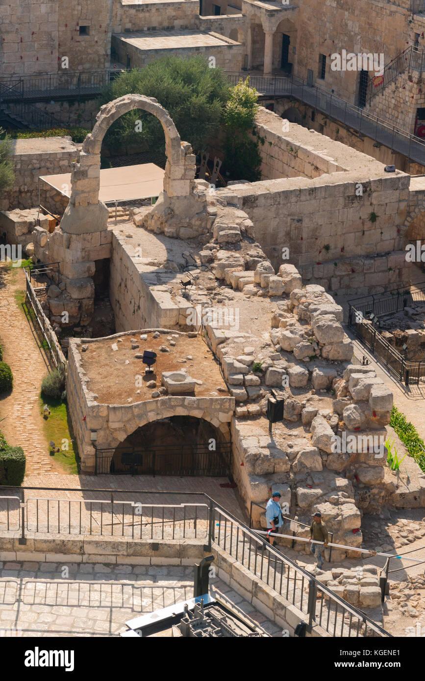 Israel The Holy Land Jerusalem Citadel old city Tower of David Museum Migdal David Elias Sourasky Archeological - Stock Image