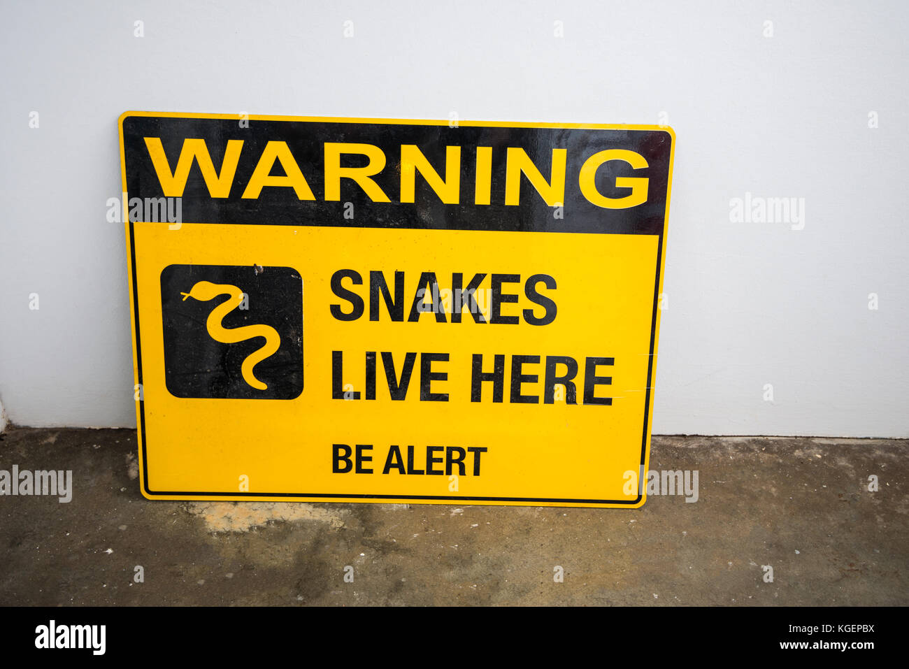 Snake Warning. Australia has deadly snakes. Walkers and travellers are being warned they can kill. Antidotes not - Stock Image