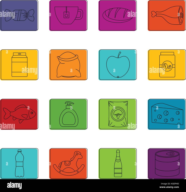 Shop navigation foods icons doodle set - Stock Image